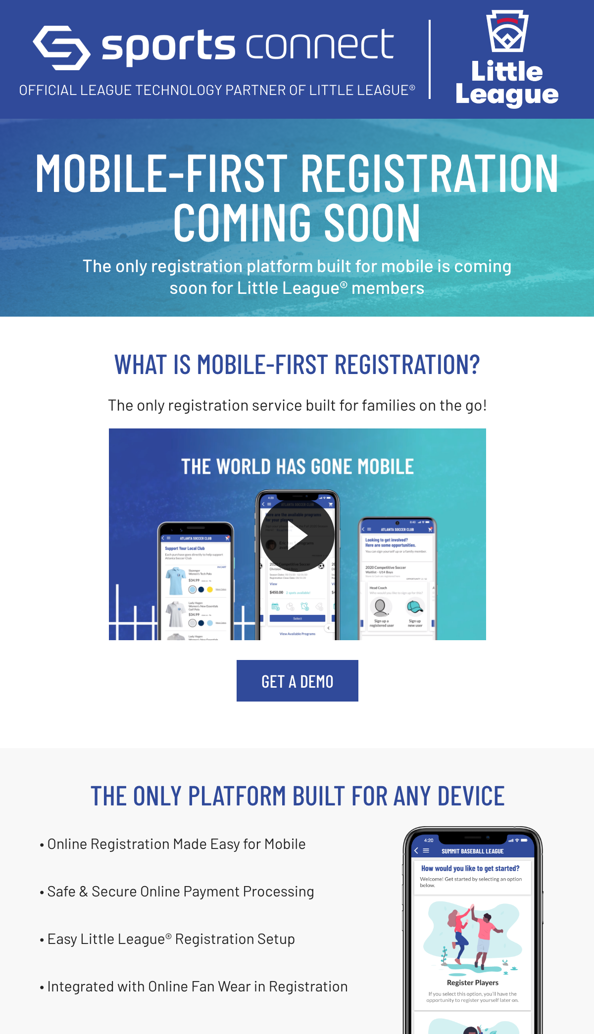 Mobile First Registration Coming Soon to Sports Connect